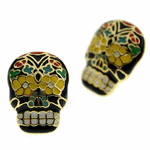Sugar Skull Gold Tone Earrings