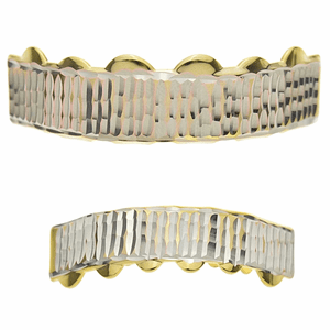 Gold Diamond-Cut Teeth Grillz Set
