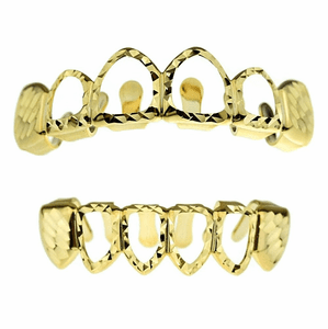Gold Diamond-Cut 4 Open Face Grillz Set