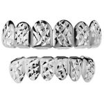 Silver Diamond Cut Grillz Set