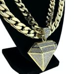 "Diamond Gold 30"" Two Cuban Chains"
