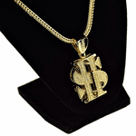 "Dollar Sign Gold 36"" Franco Chain"