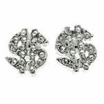 Silver Dollar Sign Bling Earrings