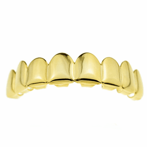 14K Gold Plated 8 Top Teeth Grillz