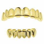 14K Gold Plated 8/6 Teeth Grillz Set