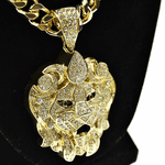 "Faceted Lion 30"" Cuban Chain"