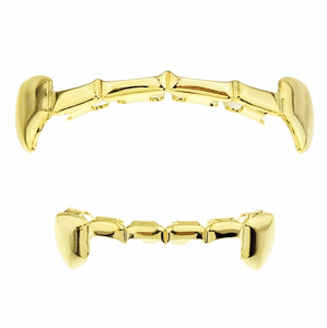 Gold Vampire Half Teeth Grillz Set