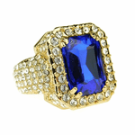 Faux Blue Sapphire Gold Iced-Out Ring