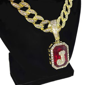 Faux Red Ruby J Letter Cuban Chain