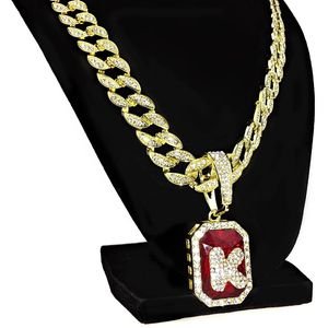 Faux Red Ruby K Letter Cuban Chain