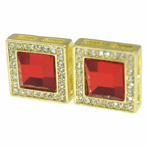 Faux Ruby Square 16MM Earrings
