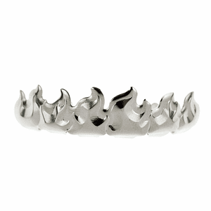 Silver Flames Top Teeth Grillz