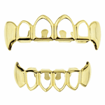 Gold 4 Open Face Fang Grillz Set