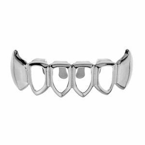 Silver 4 Open Face Bottom Fang Grillz