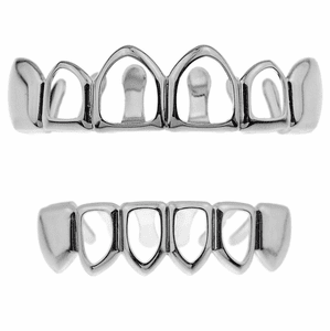 Silver 4 Open Face Teeth Grillz Set