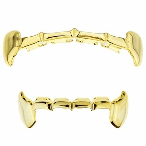 Gold Full Fangs Slim Bar Grillz Set