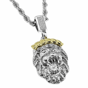 "Silver Lion 24"" Rope Chain"