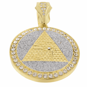 Pyramid Eye Glitter Gold Coin Pendant