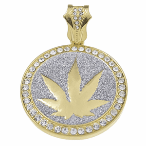 Weed Glitter Gold Coin Pendant
