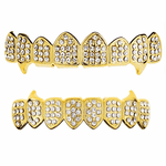 Gold 8/8 Iced-Out Fang Grillz Set