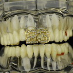 Gold #23 Stone Top Grillz