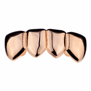 Rose Gold 4 Tooth Bottom Teeth Grillz