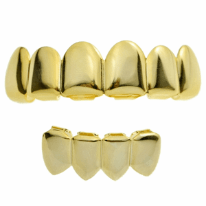 14K Gold Plated 6/4 Plain Grillz Set