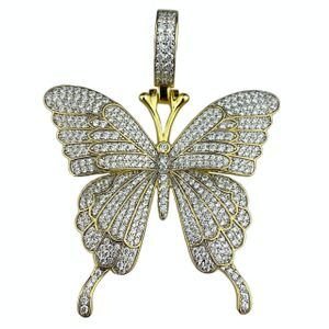Gold 925 Butterfly Pendant 1.75 Inch