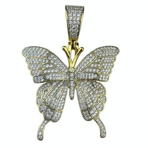 Gold 925 Butterfly Pendant 1.25 Inch