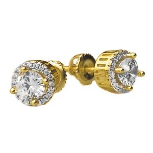 Gold over 925 8MM Round Earrings