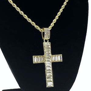 "Baguette Cross 24"" Gold Rope Chain"