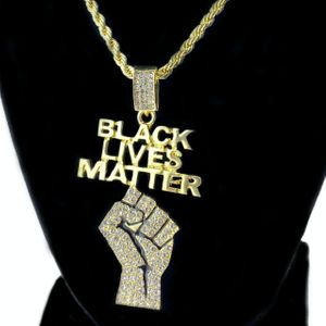 Gold BLM Raised Fist Rope Chain 30""