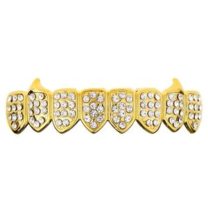 Gold 8 Bottom Fangs Iced Grillz