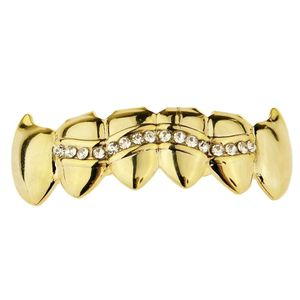 Gold One Wavy Row Bottom Fang Grillz
