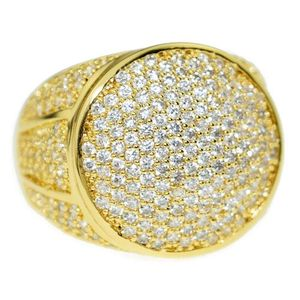 Gold Round CZ Bling Ring 19MM