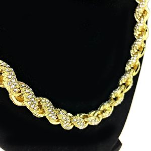 "Gold Iced Rope Chain 20"" x 10MM"