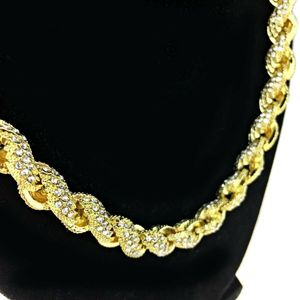 """Gold Iced Rope Chain 24"""" x 10MM"""