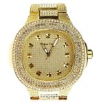 Mens Classy Gold Bling Watch