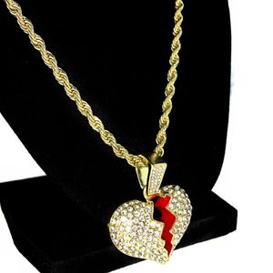 "Broken Heart  24"" Rope Gold Chain"