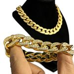 "Gold 18"" Choker & Bling Bracelet 18MM"