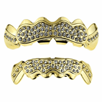Gold Bling Cluster Teeth Grillz Set