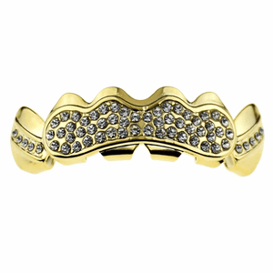 Gold Bling Cluster Top Teeth Grillz