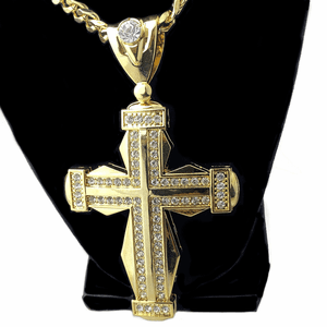 Huge Gold Plated Double Cross Chain