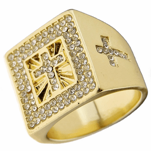 Gold Cross Iced Out Ring