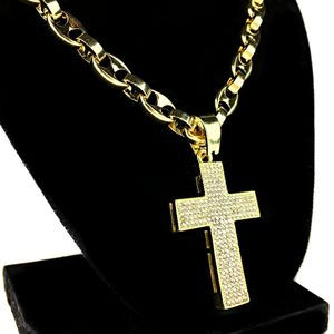 Gold Mariner Bling Cross Chain 24""