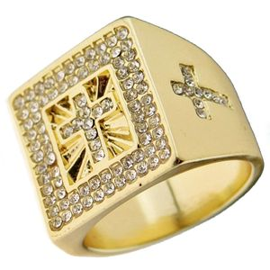 Gold Bling Cross Hip Hop Ring