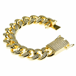 "Gold Plated Cuban Bracelet 8"" x 20MM"