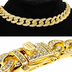 "18k Gold Plated 16"" x 13MM Cuban Choker"