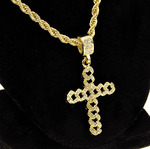 Cuban Gold Cross Rope Chain 24""