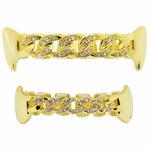 Gold Cuban Link CZ Fangs Grillz Set